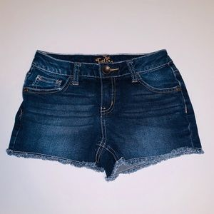 Justice Raw Hem Dark Washed Jean Shorts Size 8R
